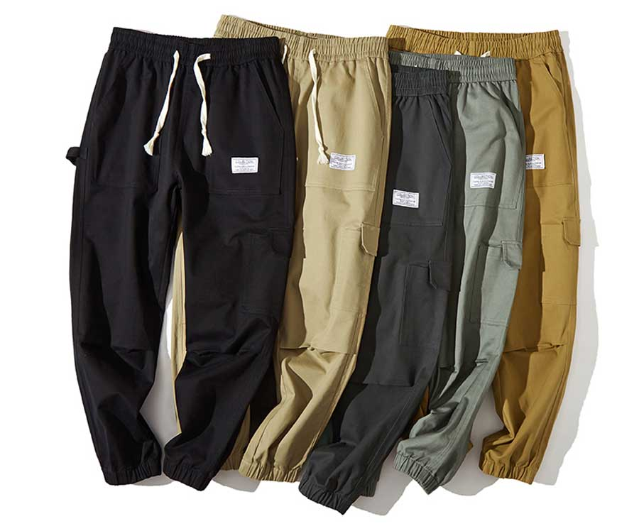 Men's multi pockets label pattern sweatpants