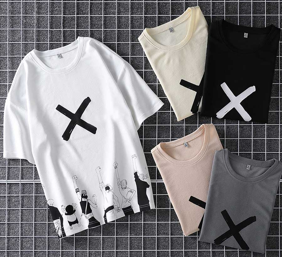 Men's X cross animation print short sleeve t shirts