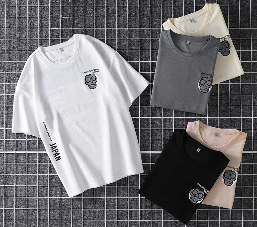Men's pattern & letter print short sleeve t shirts
