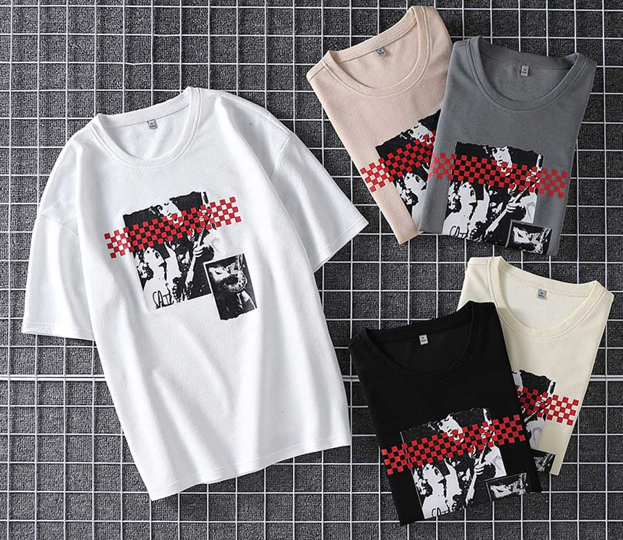 Men's musician pattern print short sleeve t shirts