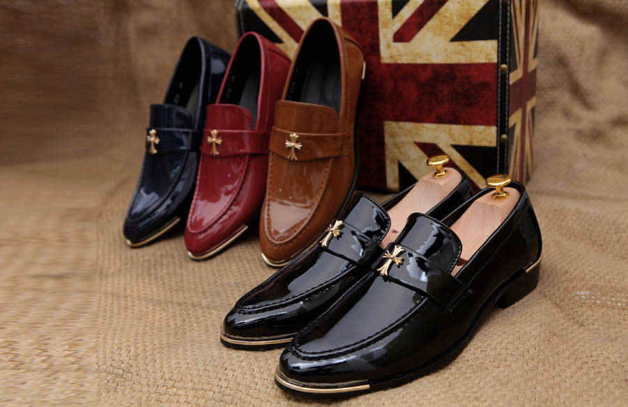 Men's metal patent leather slip on dress shoes