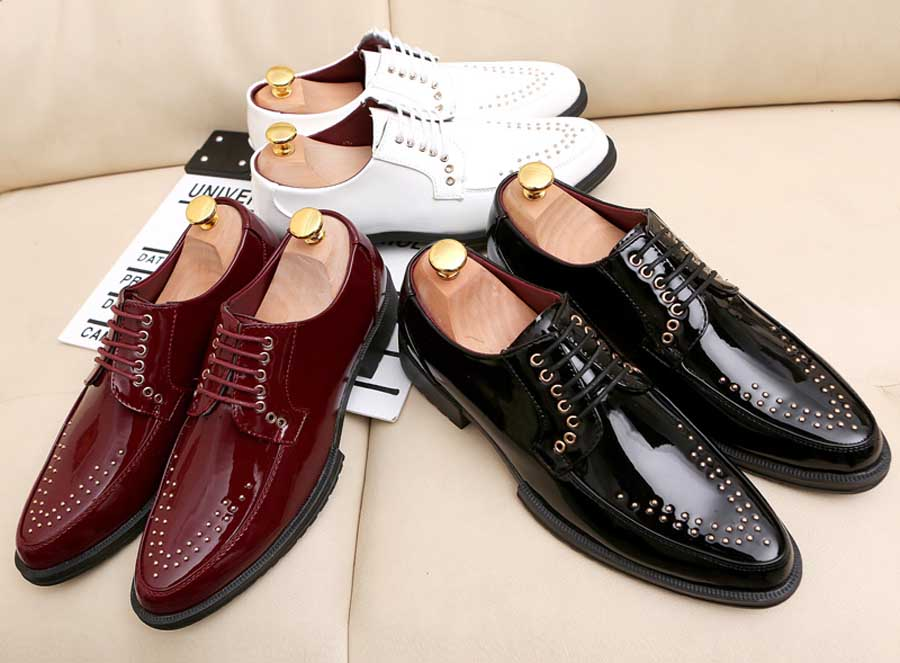 Men's rivet patent leather derby dress shoes