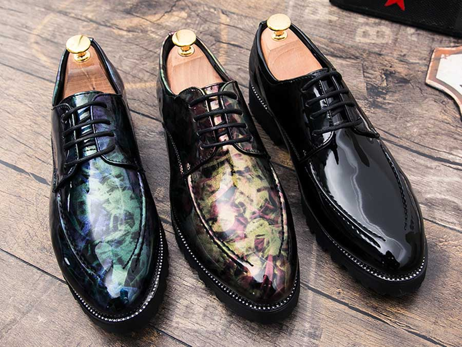Men's camo patent leather derby dress shoes