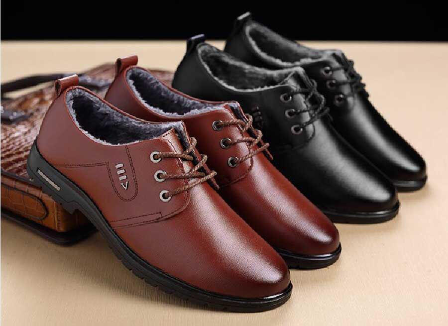 Men's metal decorated winter derby dress shoes