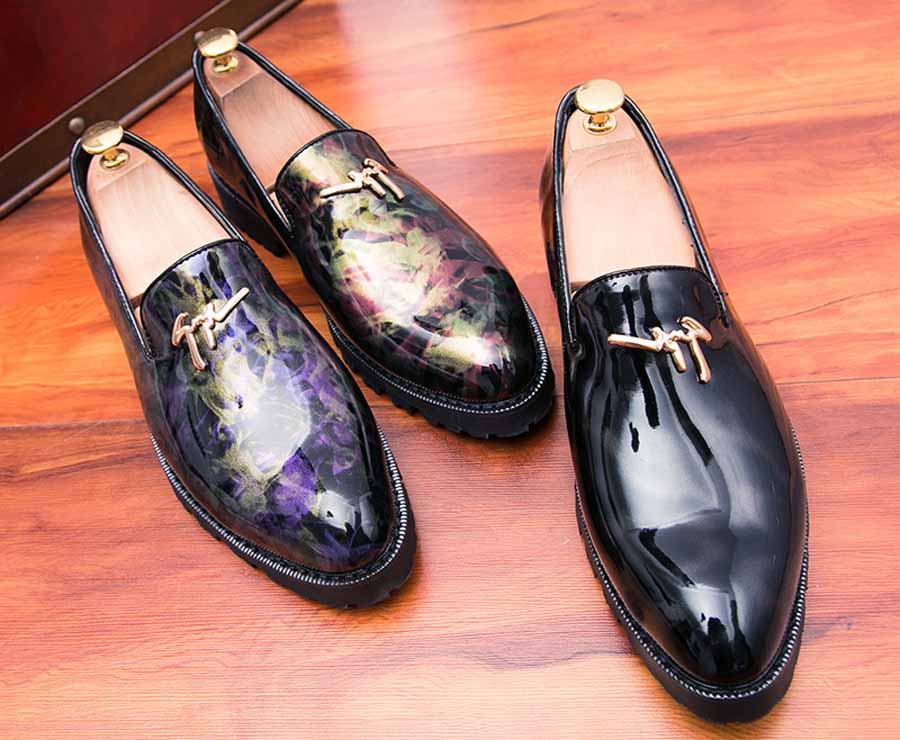 Men's camouflage patent leather slip on dress shoes