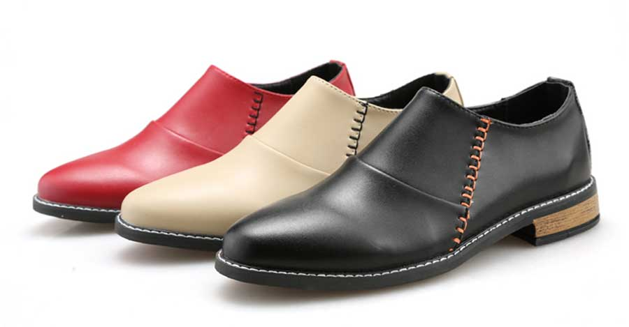 Men's layered pattern leather slip on dress shoes