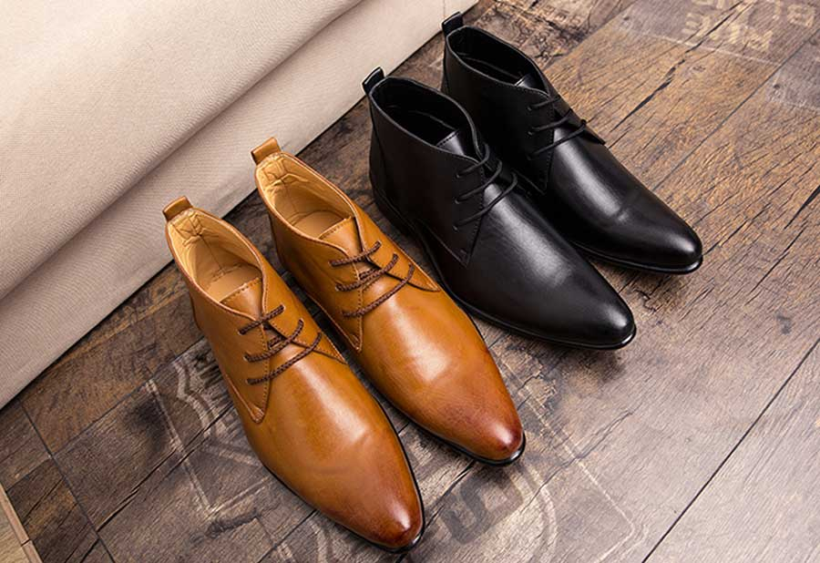 Men's leather derby dress shoe boots point toe