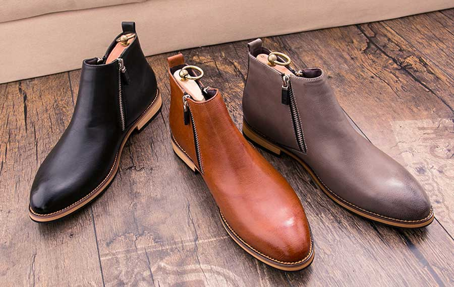 Men's leather slip on dress shoe boots with zip on side