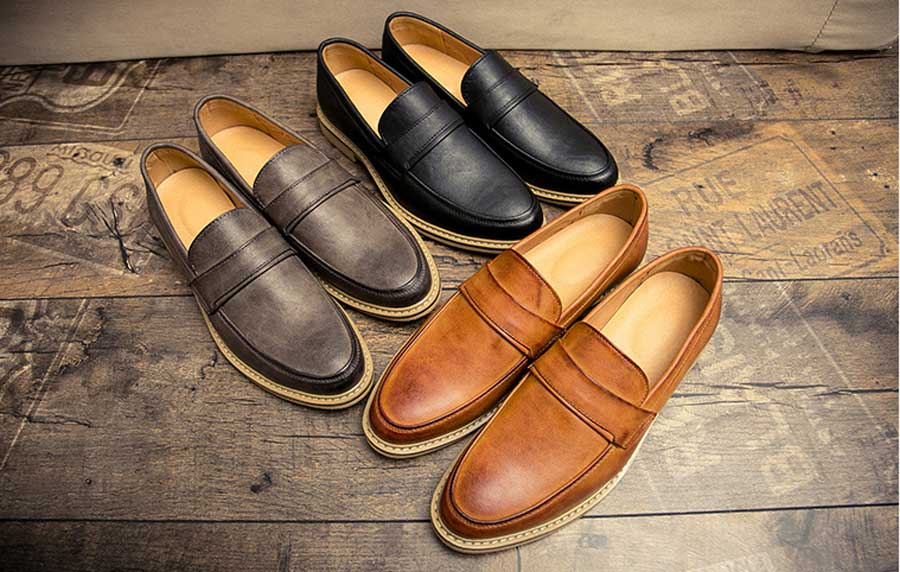 Men's retro toned leather slip on dress shoes