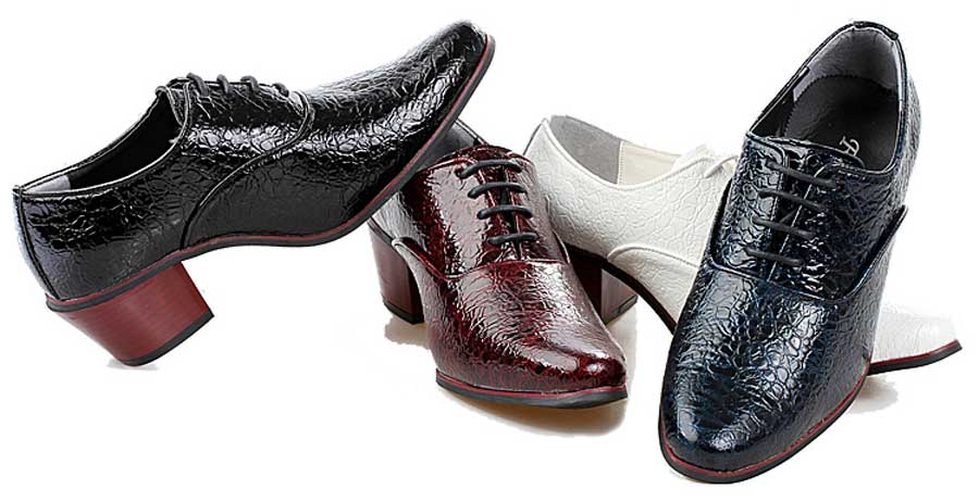 Men's leather oxford dress shoes croco skin pattern