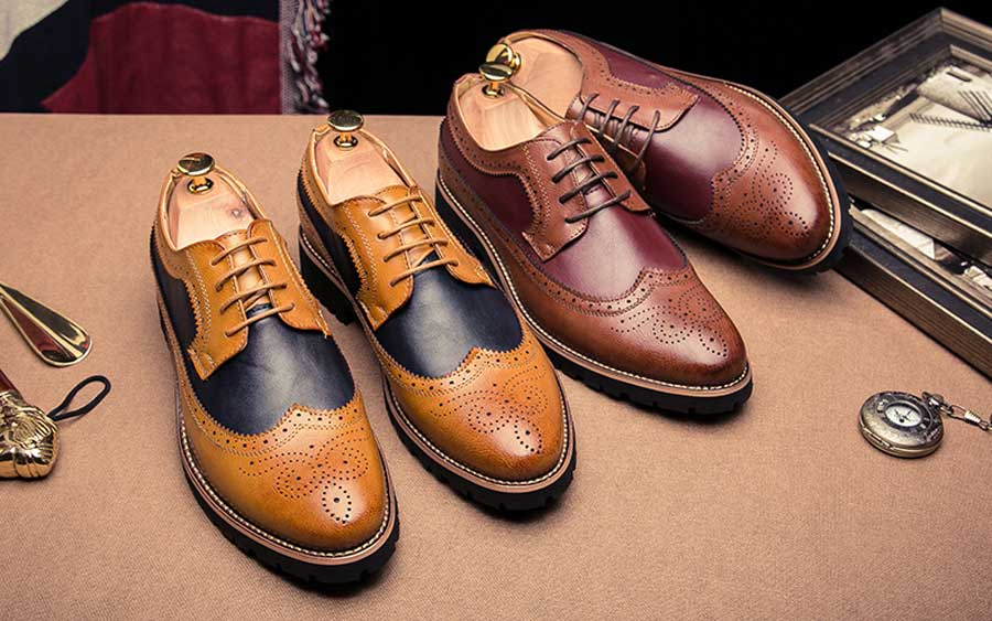Men's two tone brogue leather derby dress shoes