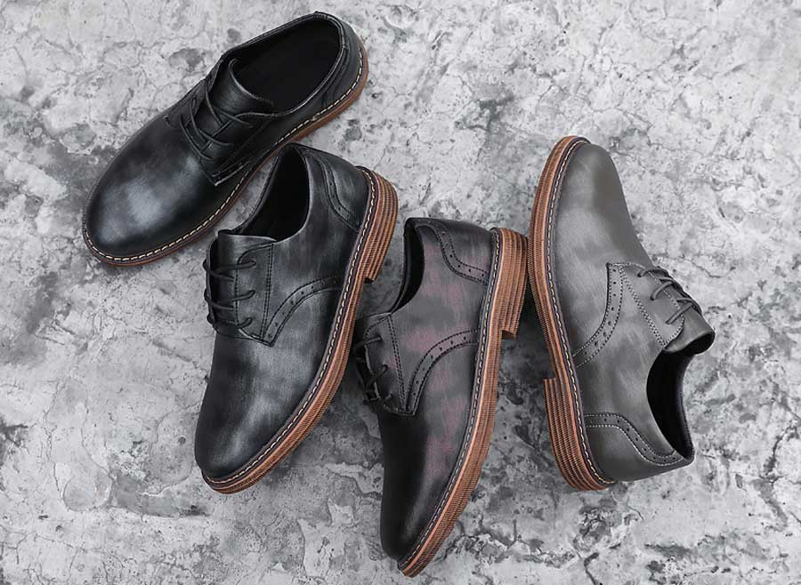 Men's brogue leather derby dress shoes retro tone