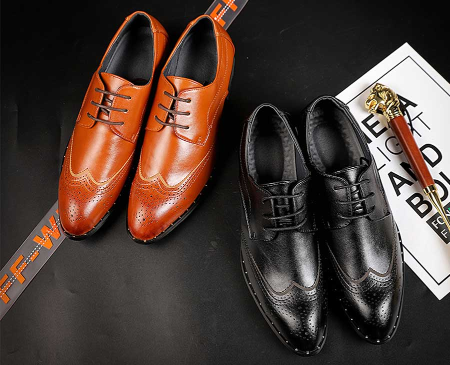 Men's brogue rivet leather derby dress shoes