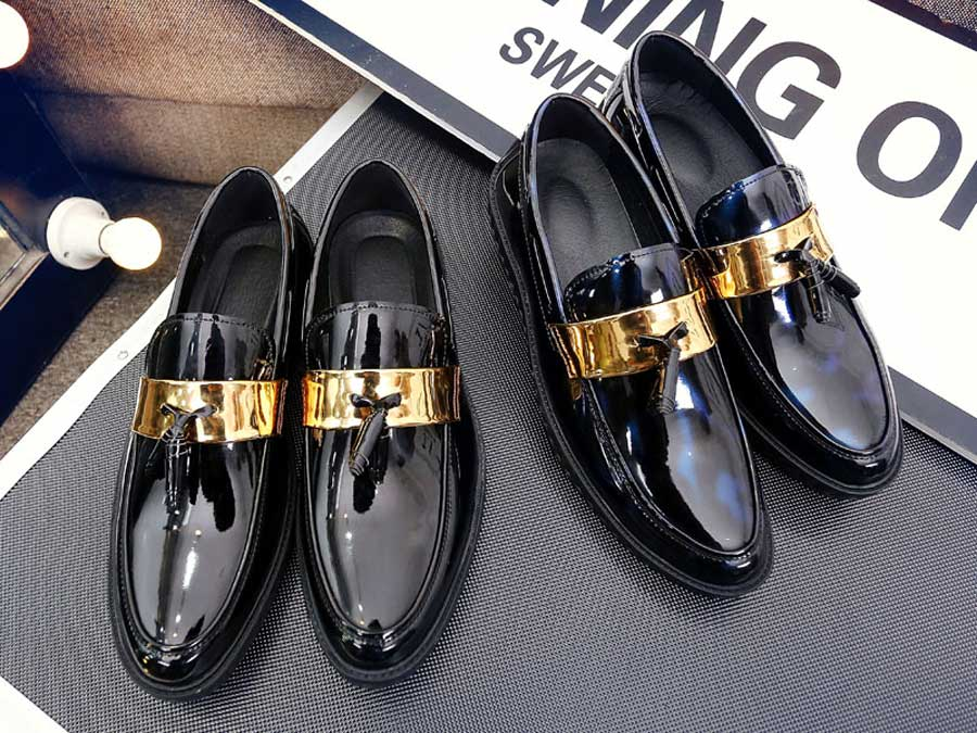 Men's golden panel tassel leather slip on dress shoes
