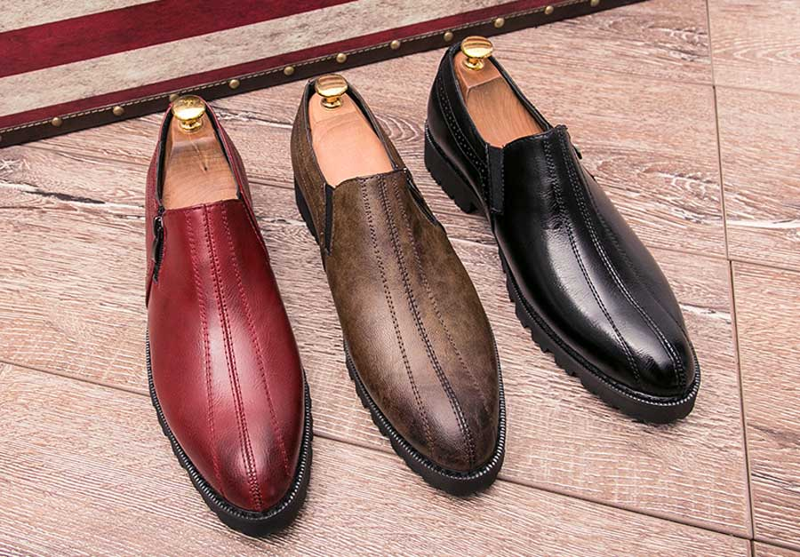 Men's brogue leather slip on dress shoes zip on side