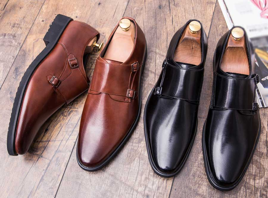 Men's retro monk strap leather slip on dress shoes