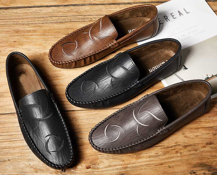 Men's curve stripe leather slip on shoe loafers