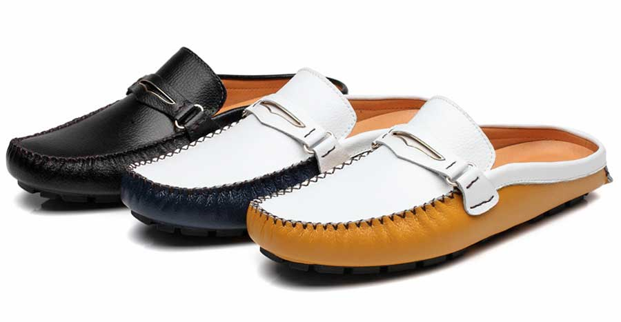 Men's buckle panel leather slip on shoe loafers