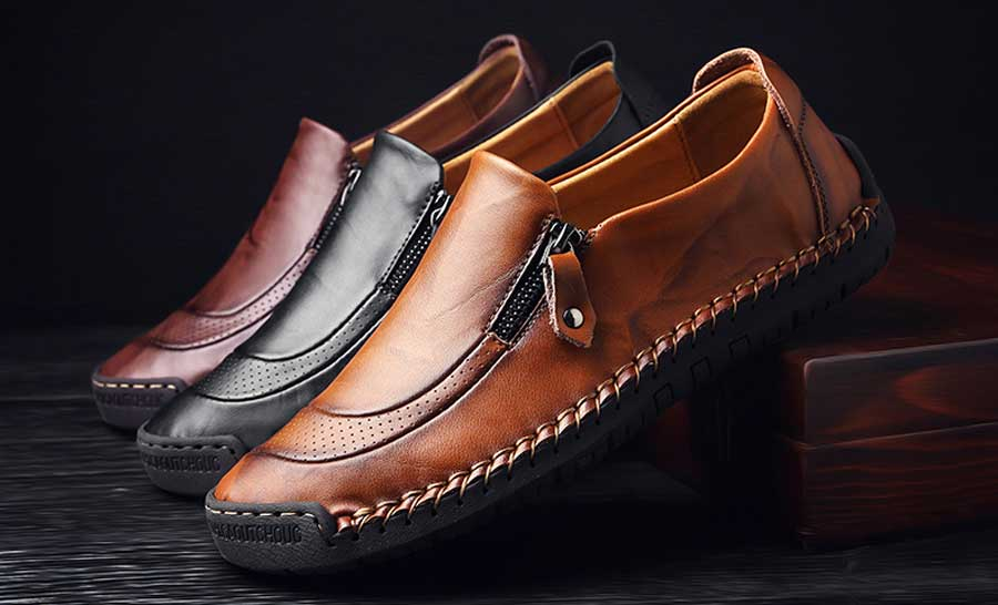Men's retro leather slip on shoe loafers zip on side