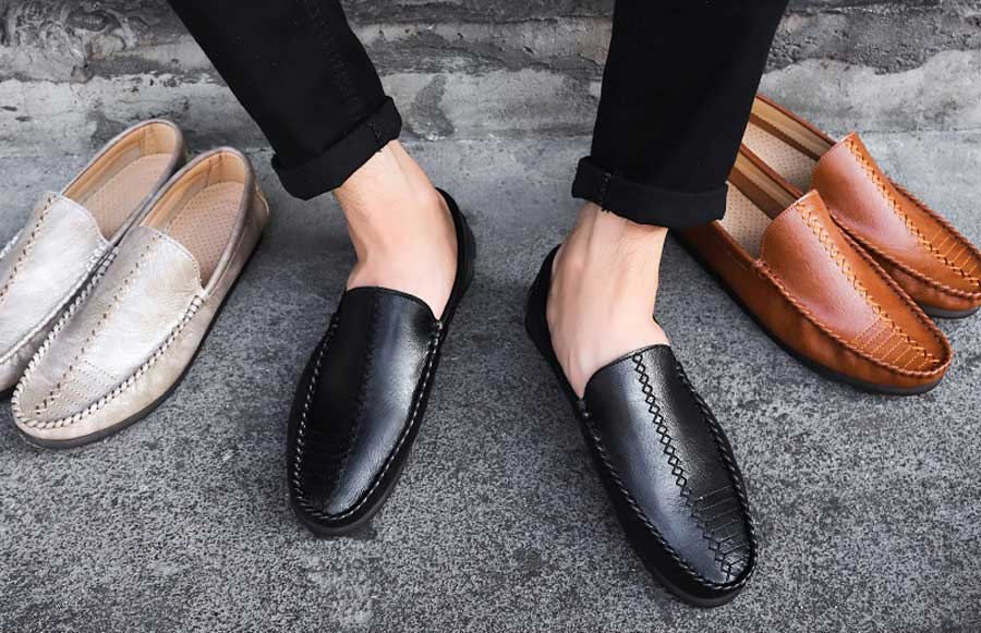 Men's cross sewed leather slip on shoe loafers