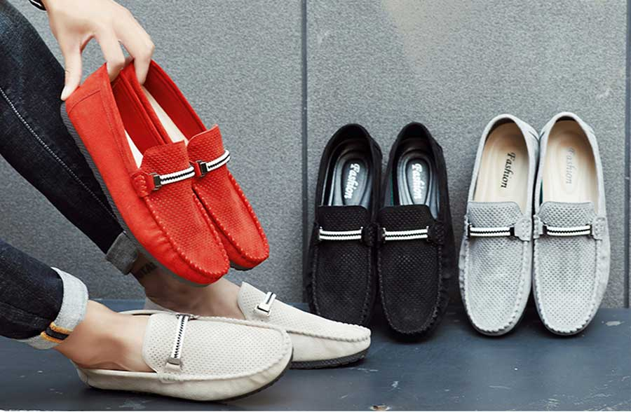 Men's hollow stripe detail buckle leather slip on loafers