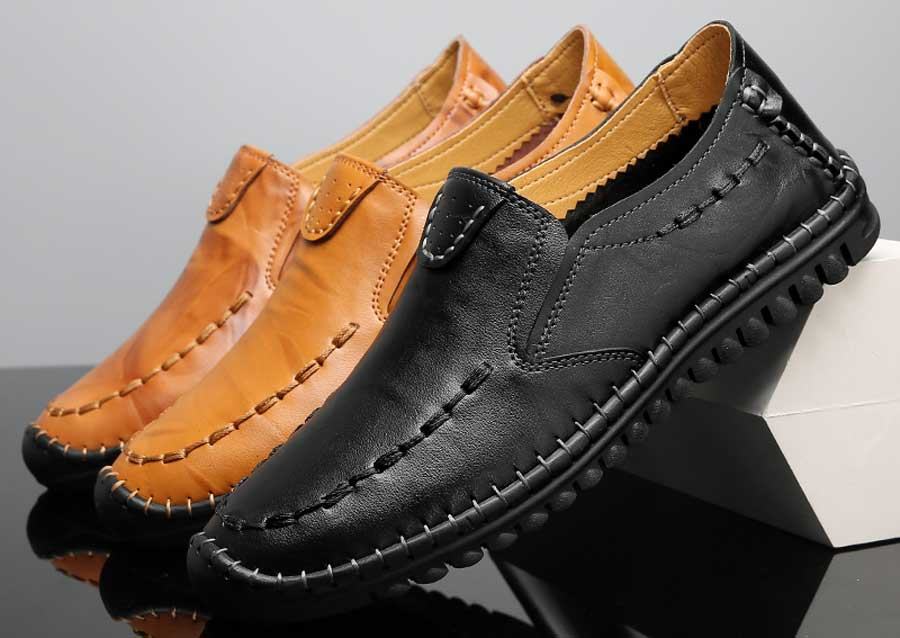 Men's retro sewed leather slip on shoe loafers