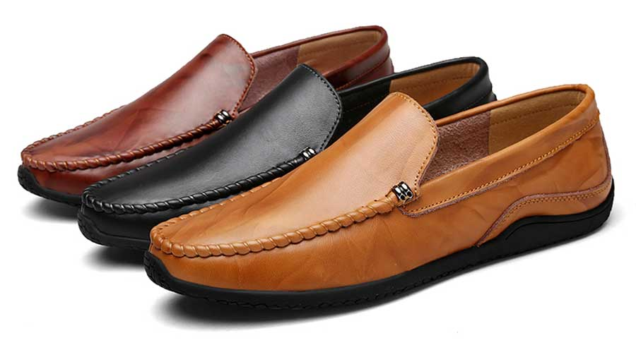 Men's patterned detail casual slip on shoe loafers