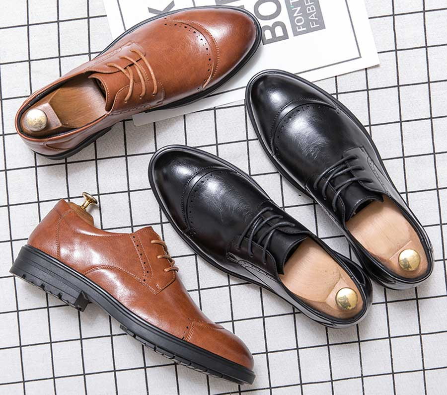 Men's brogue leather derby dress shoes curved toe