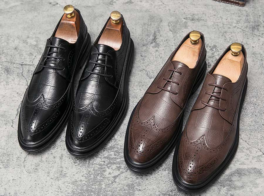 Men's brogue leather derby dress shoes check pattern