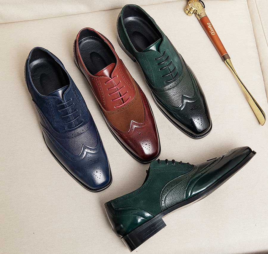 Men's brogue leather oxford dress shoes