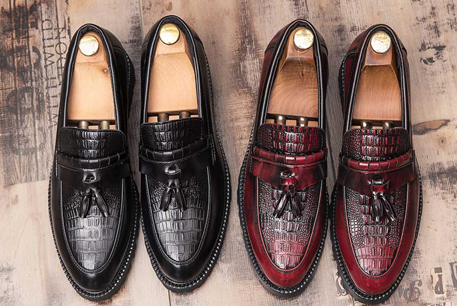 Men's tassel croc skin pattern penny slip on dress shoes