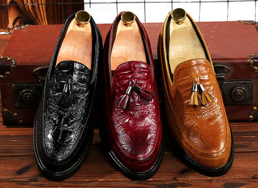 Men's croc skin pattern tassel slip on dress shoes