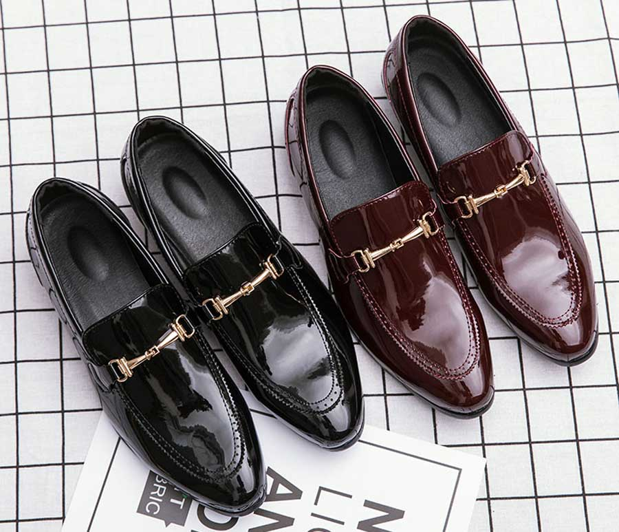 Men's patent brogue metal buckle slip on dress shoes