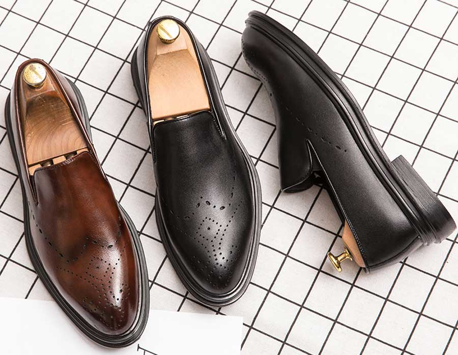 Men's retro brogue slip on dress shoes