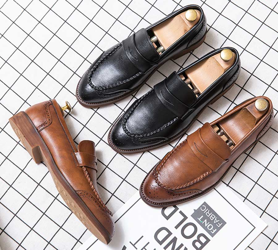 Men's retro brogue penny slip on dress shoes