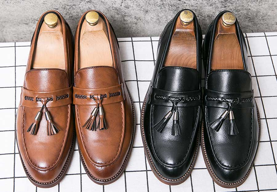 Men's tassel on penny strap slip on dress shoes