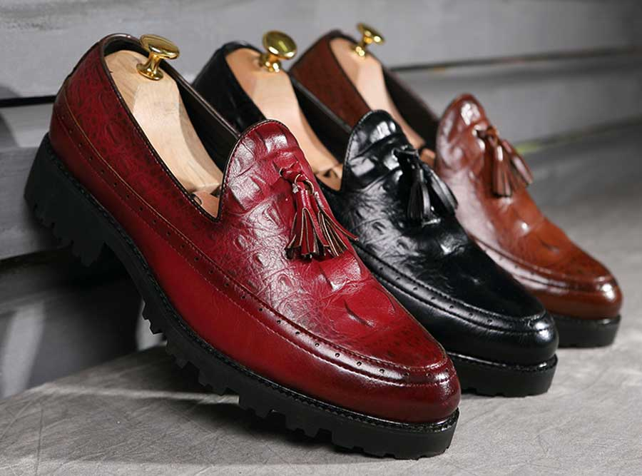 Men's brogue croc pattern tassel slip on dress shoes