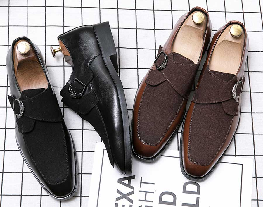 Men's suede monk strap slip on dress shoes