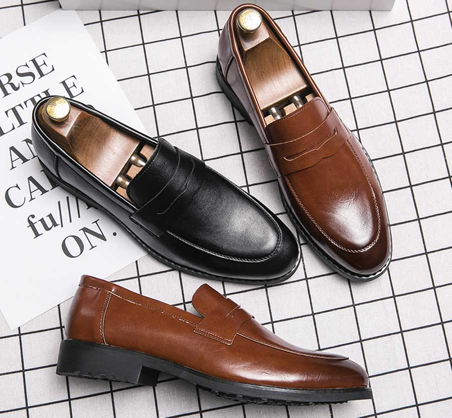 Men's retro penny slip on dress shoes