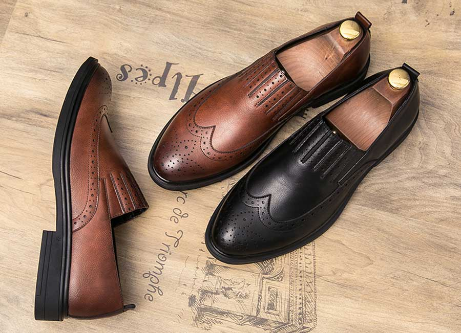 Men's retro brogue stripe detail slip on dress shoes