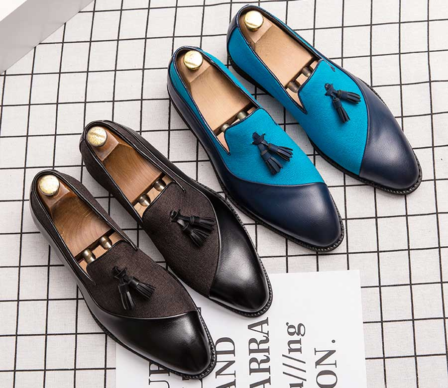 Men's split vamp tassel slip on dress shoes