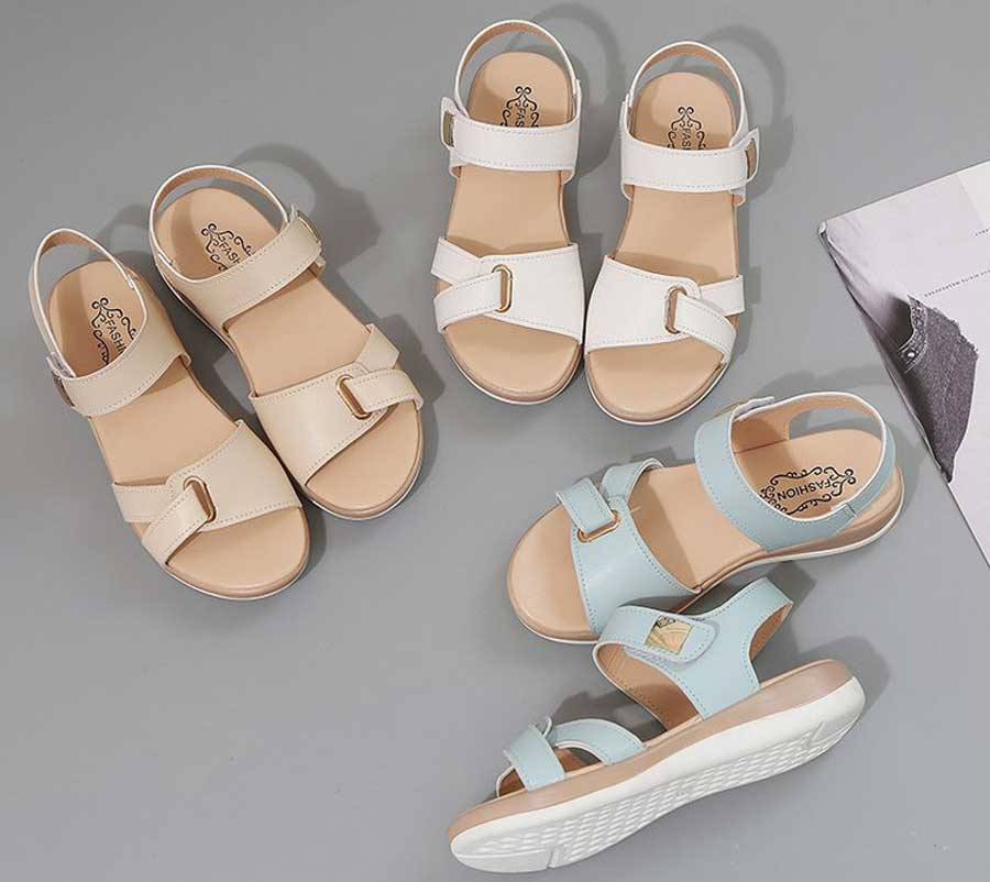Women's casual leather metal velcro shoe sandals