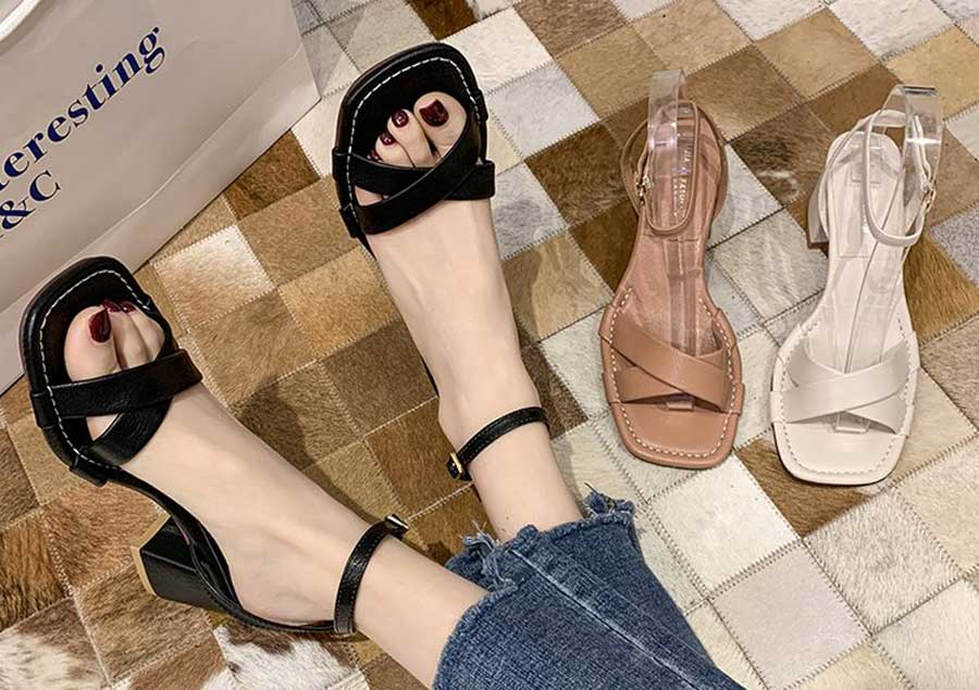 Women's criss cross ankle strap buckle thick heel sandals